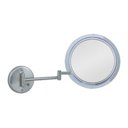 "Zadro - 7X Surround Light Wall Mirror - Zadro's 7X Surround Light™ Wall Mirror features optical quality glass to ensure a clearer reflection of your true self. The 7X magnification is great for viewing up close in detail while still allowing you to see your entire face. Its dual-jointed arm extends up to 12"" for ergonomic positioning and easy viewing."