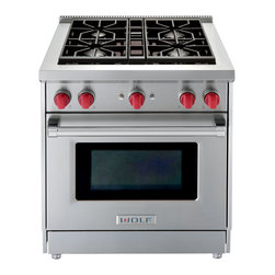 Wolf All Gas Range GR304 - Wolf's GR304 is a 30 inch all gas (liquid propane or natural gas) range with a manual clean, convection oven.