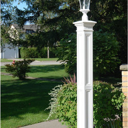 Liberty Lamp Post - Decorative Post Sleeve Only - White - Create a bold look in front of your home with the Liberty Lamp Post. Pair with your choice of post lantern for the complete look. Available as a decorative sleeve to use with an existing pole or as a complete kit with an aluminum fitter pole.