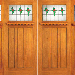 "Stained Glass Craftsman Style, Mahogany Double Door and Two Sidelites - SKU#    AC-702-A_2-2-SBrand    AAWDoor Type    ExteriorManufacturer Collection    Arts and Crafts Front DoorsDoor Model    Door Material    Woodgrain    Veneer    Price    2440Door Size Options    2(30"")+2(18"") x 80"" (8'-0"" x 6'-8"")  $02(36"")+2(18"") x 80"" (9'-0"" x 6'-8"")  +$10202(36"")+2(18"") x 84"" (9'-0"" x 7'-0"")  +$1260Core Type    Door Style    Craftsman , MissionDoor Lite Style    1 LiteDoor Panel Style    3 PanelHome Style Matching    Craftsman , Prairie , Bungalow , Mission , Arts and CraftsDoor Construction    Prehanging Options    PrehungPrehung Configuration    Double Door with Two SidelitesDoor Thickness (Inches)    1.75Glass Thickness (Inches)    3/4Glass Type    Triple GlazedGlass Caming    BlackGlass Features    Beveled , Tempered , InsulatedGlass Style    Art GlassGlass Texture    Glue Chip , StainedGlass Obscurity    Door Features    Door Approvals    FSCDoor Finishes    Door Accessories    Weight (lbs)    1190Crating Size    25"" (w)x 108"" (l)x 52"" (h)Lead Time    Slab Doors: 7 daysPrehung:14 daysPrefinished, PreHung:21 daysWarranty"