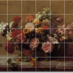 Picture-Tiles, LLC - Flowers In A Clay Pot Tile Mural By Henri Fantin-Latour - * MURAL SIZE: 40x48 inch tile mural using (30) 8x8 ceramic tiles-satin finish.