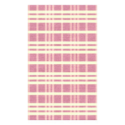 Custom Cool - Hamptons Plaid Rug 3x5 Cotton Kilim Lilac, Cream & Light Pink - The classic plaid takes on a stylish twist in this design that is playfully alluring. Hand stitched binding and slightly irregular edges give this rug a casual and relaxed feel.  Hand crafted by master weavers utilizing techniques passed on through the ages; this Cotton Kilim rug has a casual sophistication and informal charm.