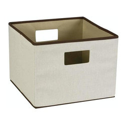 Home Decorators Collection - Trimmed Canvas Storage Bin - Whether to make your closet space more efficient or for organizing your files or office supplies, this durable bin is a splendid storage solution. For added convenience, this design neatly folds for storage when not in use. Order yours today. Natural canvas with a poly/cotton liner. Dual handles provide easy access as well as portability.