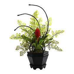 """Nearly Natural - Bromeliad & Maidenhair Fern Arrangement - Some combinations of plants simply work perfectly together. That's definitely the case with this """"unusual yet stunning"""" Bromeliad & Maidenhair Fern Arrangement. With the fern providing a soft, almost star-like backdrop, the lush Bromeliad stands regal within the included decorative planter. And it will stay looking beautiful for years without water or sun. Ideal for both home and office decorating."""