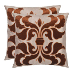 Safavieh - Safavieh Esmerelda Pillow X-2TES-8181-A528LIP - This sumptuous pillow recalls the drama of hand-woven Renaissance damask fabrics, with its oversized rust-brown velvet motif appliqu&#233:d to a cream satin polyester ground with intricate satin embroidery.