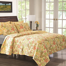 None - Sunset Paisley Cotton 3-piece Quilt Set - This whimsical paisley quilt set adds playful charm to your bedroom scene. This charming quilt reverses to a coordinating paisley print.