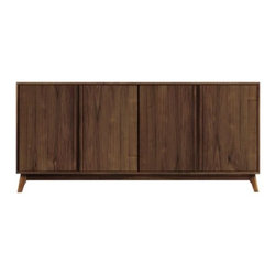 Copeland Furniture - Catalina 4 Door Buffet by Copeland Furniture - As an exemplar of mid-century modern influenced design, the Copeland Furniture Catalina 4 Door Buffet is clean and modern, yet familiar and comfortable. It is made entirely out of American black walnut. Atop a subtly splayed base, four doors open to two separate cabinets, both with adjustable shelves. The integrated door pulls ensure a seamless look. Founded in 1976 by Tim Copeland, Copeland Furniture specializes in the production of fine natural hardwood furniture. Continual evolution in Copeland Furniture designs have yielded new and exciting takes on classic Arts & Crafts, Shaker and Scandinavian bedroom, living room, office and dining room furniture. All Copeland Furniture pieces are designed and made at their manufacturing facility located on the banks of the Connecticut River in Bradford, Vermont.