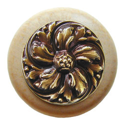 """Inviting Home - Chrysanthemum Natural Wood Knob (clear finish with antique brass) - Chrysanthemum Natural Wood Knob in clear finish with hand-cast antique brass insert; 1-1/2"""" diameter Product Specification: Made in the USA. Fine-art foundry hand-pours and hand finished hardware knobs and pulls using Old World methods. Lifetime guaranteed against flaws in craftsmanship. Exceptional clarity of details and depth of relief. All knobs and pulls are hand cast from solid fine pewter or solid bronze. The term antique refers to special methods of treating metal so there is contrast between relief and recessed areas. Knobs and Pulls are lacquered to protect the finish. Alternate finishes are available."""
