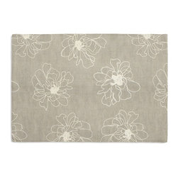 Ivory & Gray Embroidered Peony Custom Placemat Set - Is your table looking sad and lonely? Give it a boost with at set of Simple Placemats. Customizable in hundreds of fabrics, you're sure to find the perfect set for daily dining or that fancy shindig. We love it in this serenely sophisticated embroidery of ivory outlined blossoms on lightweight gray linen.