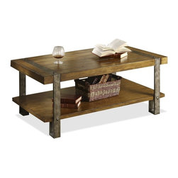 Riverside Furniture - Sierra Rectangular Cocktail Table - Fixed bottom shelf