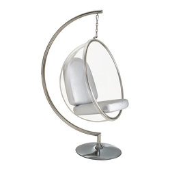 Hanging Orbit Chair in White - Hang out in the relaxing seat of this orbit chair. Grab a glass of wine or your favorite book and jump in. Hint: you made need two to eradicate fighting over who gets to sit in the chair!
