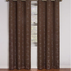 Eclipse - Meridian Chocolate 42-Inch x 84-Inch Blackout Window Curtain Panel - - Experience the darkness, silence and beauty of Eclipse curtains.   - Eclipse? ultra-fashionable blackout panels have been laboratory-tested to block out over 99% of outside light, up to 40% of unwanted noise and can help to save up to 25% off home heating and cooling costs.   - Eclipse Curtains combine functionality with the versatility and style needed to enhance any room in your home.   - Hang them in your media room for the ultimate home theater experience, or in your dining area to create an intimate date night.   - Eclipse Curtains are also designed to be perfect in the bedroom, kid?s room or nursery to create the ideal sleep environment for the whole family.   - National Sleep Foundation studies show that blocking unwanted light and noise while you sleep helps create the optimal sleeping environment.   - The magic is in the Thermaback? construction.   - The innovative double-pass foam-back allows you to enjoy all of the light-blocking, noise reducing and energy saving benefits, while providing the same fashionable style and elegance of naturally flowing curtains.   - Panels feature a beautiful jacquard weave, accented with playful a circle pattern.   - Hang two or more curtain panels on a standard or decorative rod for optimal coverage and desired effect.   - Sold as a single grommet panel measuring 42?W x 84L.   - Rod sold separately.   - 100% Polyester.   - Machine wash gentle cycle, tumble dry, do not bleach.   - Imported.   - Panel only. Eclipse - 11250042X084CH