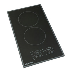 "Kenyon - Lite Touch Q Cortez 2 Burner, 240V Portrait - Modernize any kitchen and compliment high end appliances with our Lite-Touch Q® Cortez Series Cooktop. Steel colored graphics provide a sleek and polished look. Precision and simplicity are at the tip of your fingers. Just touch the digital ON/OFF circle to activate the heating elements and set the cooking temperature. Portrait orientation. (2) 1200 W 6.5"" burners. 240V"