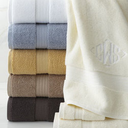 """Kassatex - Kassatex Six-Piece Towel Set, Monogrammed - Six-piece Egyptian cotton towel sets come in your choice of colors and with optional monogram. Each six-piece set includes two 28"""" x 53"""" bath towels, two 16"""" x 30"""" hand towels, and two 12""""Sq. face cloths. Please select color when ordering. Machine w..."""