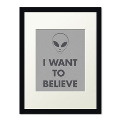 Keep Calm Collection - I Want To Believe, black frame (brushed metal) - This item is an Art Print which means it is a higher-quality art reproduction than a typical poster. Art prints are usually printed on thicker paper, resulting in a high quality finish. This print is produced on a 270 gsm fine art paper stock.