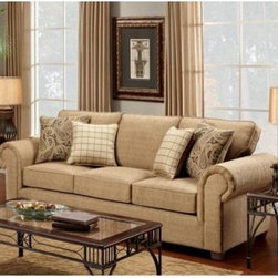 "Chelsea Home Sussex Sofa - Burbank Ochre - Soothing textured upholstery coupled with hints of Victorian flair make this Chelsea Home Sussex Sofa - Burbank Ochre versatile enough to fit naturally inside any living room or lounge area. The three-cushion sofa measures more than eight-feet wide, seating three comfortably for any occasion including holiday gatherings with the family or fall afternoons spent watching football with friends. Or, take advantage of the inviting cushions and enjoy a little ""me time"" by sprawling out to read a book or watch a movie by yourself. The spacious sofa's frame was constructed of solid hardwood that ensures stability over years of usage and through potential relocations. Resting on top the frame, the couch's three cushions are made from resilient foam and springs that promote an ideal combination of softness and support. The sofa also features rolled armrests presented with old world, Victorian elegance.About Chelsea Home FurnitureProviding home elegance in upholstery products such as recliners, stationary upholstery, leather, and accent furniture including chairs, chaises, and benches is the most important part of Chelsea Home Furniture's operations. Bringing high quality, classic and traditional designs that remain fresh for generations to customers' homes is no burden, but a love for hospitality and home beauty. The majority of Chelsea Home Furniture's products are made in the USA, while all are sought after throughout the industry and will remain a staple in home furnishings."