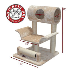 Majestic Pet - Majestic Pet Products 29 in. Casita Fur Cat Tree with Splayed Center - Tan Multi - Shop for Towers and Houses and Accessories from Hayneedle.com! The Majestic Pet Products 29 in. Casita Fur Cat Tree with Splayed Center - Tan is just the thing for that cat on the go or looking for a good nap. This playground features a unique spinning scratch post wrapped in durable Sisal rope to last scratch after scratch. It features an elevated divan and hiding tunnel for both fun and rest. Wrapped in a tan faux-fur the whole set assembles in just minutes with the included tools.