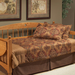 Hillsdale Furniture - Medium Oak Dalton Suspension Deck Daybed - Embrace space-saving style in your home with this handsome daybed that features a rich wood frame, dramatic curves and rich finish for a sophisticated addition to your décor.   39'' W x 40'' H x 109.38'' D Wood / medium-density fiberboard Assembly required Imported