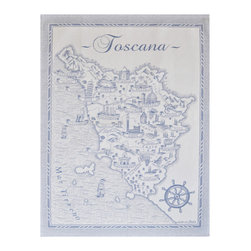 Abbiamo Tutto - Kitchen Towel - Cities an Towns in Tuscany, Blue - 100% Italian cotton woven kitchen towel featuring the different cities and towns in Tuscany, Italy. Available in amber yellow and blue. Perfect gift for anyone who loves to bella Italia!