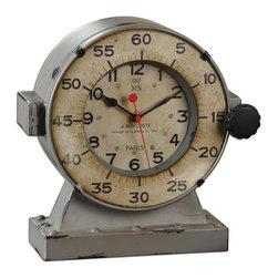 Uttermost - Marine Table Clocks - Distressed, Antiqued Gray With An Antiqued, Aged Ivory Clock Face. Quartz Movement.