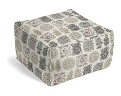 Paisley Block Print Square Pouf - The Square Pouf is the hottest thing in decor since the sectional sofa. This bean bag meets Moroccan style ottoman does triple duty as a comfy extra seat, fashion-forward footstool, or part-time occasional table.  We love it in this modern, yet eclectic blockprint paisley grid in black, browns & metallic gold on cream cotton.