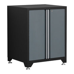 Newage Products - Pro Series Base Cabinet - Grey - With powerful steel doors,our Pro Series Wall Cabinet is ideal for securely and efficiently storing heavy-duty garage gear. Plus,resourceful pegboard side panels provide extra storage possibilities for hanging tools and cables