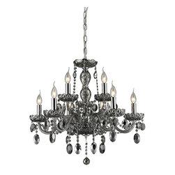 Elk Lighting - Balmoral 9-Light Crystal Chandelier in Smoke Plated - 9 light crystal chandelier in smoke plated and chrome finish