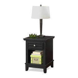HomeStyles - 18 in. Nightstand in Black Finish - Lattice moldings. Slightly flared legs. Top of the hidden pull-out tray. Scratch and stain resistant. Square brushed nickel hardware. Made from Asian hardwoods and veneers. Made in Thailand. 18 in. W x 16 in. D x 24 in. H. Assembly InstructionsMission styling at its best! The arts and crafts Nightstand embellishes typical mission styling with a storage drawer showcasing raised wood. This Nightstands simplistic yet detailed design make it an ideal piece for any bedroom setting.