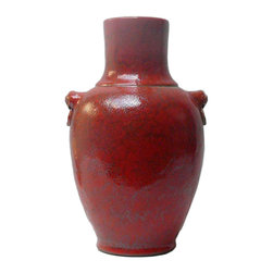 Golden Lotus - Red Rustic Glaze Lion Head Accent Ceramic Vase - Red Rustic Glaze Lion Head Accent Ceramic Vase