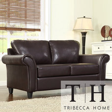 Love Seats TRIBECCA HOME Petrie Dark Brown Faux Leather Rolled Arm Loveseat