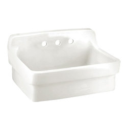"American Standard - American Standard 9061.193.020 Plaster Work Sink, White - This American Standard 9061.193.020 Plaster Work Sink is part of the Additional Accessories collection, and comes in a beautiful White finish. This plaster work sink features a vitreous china construction, a high back-splash, and a wall hanger. This sink measures 30"" by 22"", and it has 8"" centered faucet mounting holes."