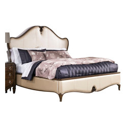 American Drew - American Drew Jessica McClintock Leather Low Profile Bed in White - Queen - The Jessica McClintock Couture collection displays an Old World charm arising out of a sense of history and tradition. Utilizing romantic Victorian design aesthetics, this beautiful collection perfectly captures the past, present and future of traditional style. The ingenious use of materials like highly figured walnut veneers, primavera and maple marquetry in a mink finish, as well as leather, marble and mirror accents with serpentine and bowed fronts lends each piece an enduring sense of style. It also makes the Jessica McClintock Couture collection dramatically romantic and beautiful to look at. The Jessica McClintock Leather Low Profile Bed is more than a resting place at night, it's the comfort that you've been seeking. Featuring a lovely leather upholstered frame, the low profile of the bed is fit for any room with its luxurious mink finish. The wooden border emphasizes the grandeur of the bed and also serves as a sturdy support for your mattress and most importantly, you. After a long day, imagine yourself sinking into the plush softness of this lovely bed and drift away for a peaceful sleep that will have you waking up feeling refreshed and rejuvenated.