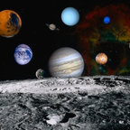 Wallmonkeys Wall Decals - Planets of the Solar System Wall Mural - 60 Inches W x 48 Inches H - Easy to apply - simply peel and stick!