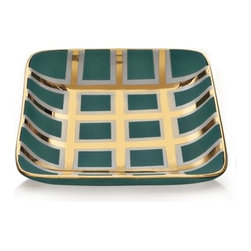 Waylande Gregory Small Turquoise and Gold Grid Small Square T - I never get sick of turquoise, and paired here with gold it makes the perfect glam tray to hold your favorite gems atop your dresser or nightstand. It may even inspire you to glam up the rest of your room!