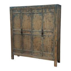 Terra Nova Designs, Inc. - Reclaimed Wood Large Armoire - Solid reclaimed wood large cabinet with hand painted blue details.