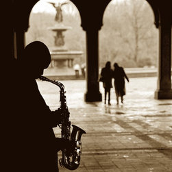 Jazz in Central Park (New York) Artwork - Jazz.. Does it come from the man playing sax under the arch.. Or it comes from my heart, singing a mellow tune unison with the perfect day.    This original sepia photograph is in black museum quality wooden frame, archival acid free mat.  Dimensions: original print - 8X10, frame - 14X17.  Art work signed by me(the artist). The actual capture is handwritten.