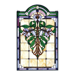"""Meyda Tiffany - 22""""W X 35""""H Nouveau Lily Stained Glass Window - Plum Blue glass with Cobalt jewels and Spring Green accents border this window of Art Nouveau inspired Plum Blue blossoms and buds laced with Spring Green stems and leaves on Ivory glass. this Meyda original windows a creation to be forever treasured. Mounting bracket and chain included."""