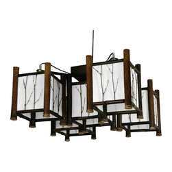 Accent Lighting - A natural, rustic alternative to metal and glass western style ceiling lights, a beautiful overhead light fixture. With five light bulbs, this fixture provides significant wattage in a distinctive, elemental, Japanese design. One of the largest fixtures in the collection, this lantern includes a convenient power cord & switch configuration.