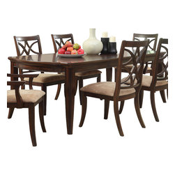 Homelegance - Homelegance Keegan Extension Dining Table in Brown Cherry - Exuding the sophisticated elegance that your formal dining room calls for, the Keegan collection will wow your dinner guests. The china cabinet stands at attention, not only functioning as a storage facility for all of your tabletop's finest, but as the grand centerpiece of this stylish dining offering.