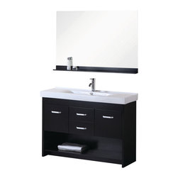 """Design Elements - Citrus 48"""" Single Sink Vanity Set in Espresso - The Citrus 48 single-sink vanity is uniquely designed and constructed of solid hardwood. The robust edge brings a crisp clean contemporary look to any bathroom. Theunique rolling and curved basin of thewhite rectangular sink beautifully contrasts with the sharp lines of the espresso cabinetry. This sophisticated vanity includes two center drawers and two soft-closing cabinet doors, all adorned with satin nickel finish hardware. A large open storage shelf at the bottom provides additional storage. Included is a matching framed mirror with shelf. The Citrus Vanity is designed as a centerpiece to awe and inspire the eye without sacrificing quality, functionality, or durability."""