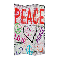 Oriental Furniture - 6 ft. Tall Double Sided White Peace and Love Room Divider - Graffiti or doodle-style collage spans the front and back of this lightweight but sturdy three panel floor screen. Details distressed black borders, faded sheet music, and cursive script in the background and bold symbols of peace and love in the foreground. High quality art printed on durable canvas, stretched onto hinged wood frame panels.