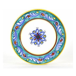 Artistica - Hand Made in Italy - GIADA: Salad plate - GIADA Collection: The Giada (Jade) pattern features intertwining Acanthus leaves painted in delicate aqua-teal color tones, a pattern that is commonly found in 15th Century Italian Catholic churches and cathedrals.