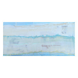 """Aquifer Series: """"Aquifer San Marcos"""" by Austin Allen James, 12x16 - From his Aquifer Series, Austin Allen James brings us """"Aquifer San Marcos."""" This watery abstract painting features washes of aqua blue and grayish white, with touches of metallic to create an ethereal glow. Subtle layers of sky blue and gold paint invite movement and lyricism to the piece, for which the artist is well known. This mixed media painting on board is coated with a resin clear coat to preserve and enhance the complex layers of this one of a kind abstract. The glossy surface invites the viewer to experience the artwork """"through a looking glass."""" This tranquil and meditative painting can easily serve as the foundation of a well appointed roomscape. Choose the """"Aquifer San Marcos"""" style in the size of your choosing, with a 2"""" depth. Each painting is made to order as a one of a kind commission; inherent variations make each piece it's own unique treasure. Learn more about the artist in his feature as a Moss Manor 2014 Guest Curator."""