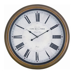 Cooper Classics - Henley Clock - The henley clock will accent at decor. This charming wall clock features a beautiful toffee finished frame with an aged cream color face under glass.