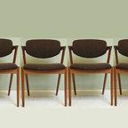 Mid century modern chairs by danish designer Kai Kristiansen - Set of vintage dining chairs. Mid century danish modern Z chair by Kai Kristiansen 1960's