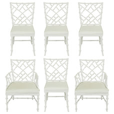 Six Phyllis Morris White Chinese Chippendale Dining Chairs at 1stdibs