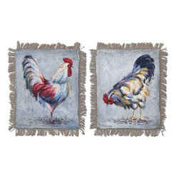 Uttermost - Farm Yard Kings Hand Painted Art Set of 2 - Delightful Barnyard Animals Have Been Hand Painted On Burlap With Fringed Edges, Then Attached To Wooden Hard Board. Due To The Handcrafted Nature Of This Artwork, Each Piece May Have Subtle Differences.