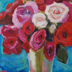 Rose Julep (Original) by Sarah Gentry - This oil on canvas flower painting would look lovely in any bright space.  It has great texture and fabulous color!