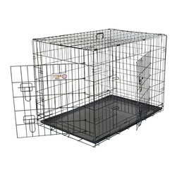 "Majestic Pet Products - 24"" Double Door Folding Dog Crate -Small - Titan brand 24"" Double Door Dog Crate by Majestic Pet Products is perfect for crate training your dog while staying well ventilated and easy to clean. Made of wire with a durable black electro-coat finish. Unfolds for easy assembly. Folds for easy storage or portability. The front and side doors with sliding bolt latches allow for convenient, secure, and easy access. Comes with a crate training guide, carry handle, and a removable easy-to-clean plastic pan. For proper sizing, determine your dogs potential full grown adult size, then choose a crate that will be 4"" inches taller than the top of your dogs head and 4"" inches longer than your dog from nose to tail."