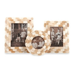 Bristow Bone Frames - Set of 3 - *Beautiful bone tiles are layered in a pattern of alternating shades of taupe and pearl to create the Bristow bone frames.
